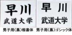 画像1: 《九櫻》柔道ゼッケン 刺繍文字加工/黒字(男子用)